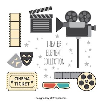 Variedade de objetos de teatro planas