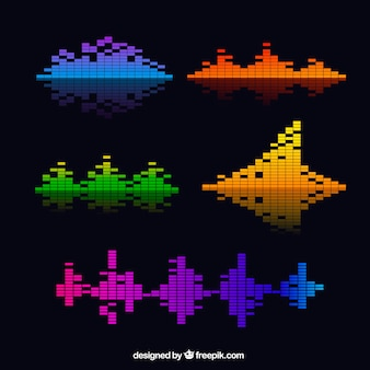 Variedade de ondas sonoras coloridas