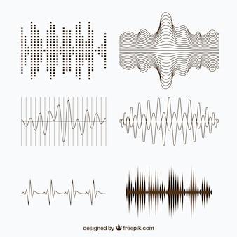 Variedade de ondas sonoras com desenhos diferentes