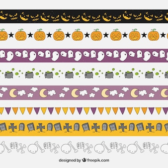 Variedade de ornamentos desenhados à mão no dia das bruxas