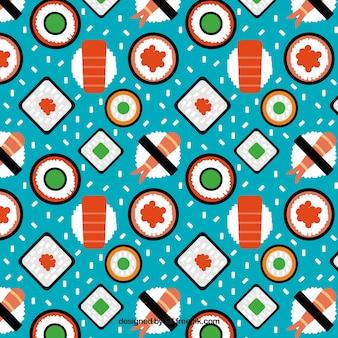 Variedade de padrão de sushi plana