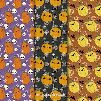 Variedade de padrão sem emenda de abóboras halloween