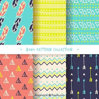 Variedade de padrões boho coloridas