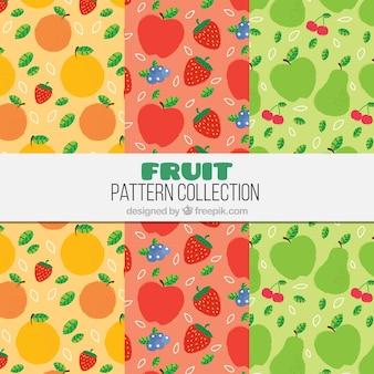 Variedade de padrões coloridos com diferentes frutas
