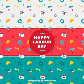 Variedade de padrões coloridos para o dia de trabalho