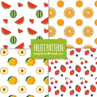 Variedade de padrões com frutas saborosas