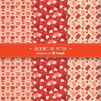 Variedade de padrões de dia dos namorados