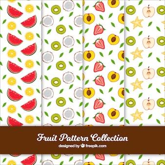 Variedade de padrões de frutas desenhados à mão