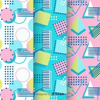 Variedade de padrões de memphis com formas