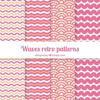 Variedade de padrões de ondas em cor-de-rosa