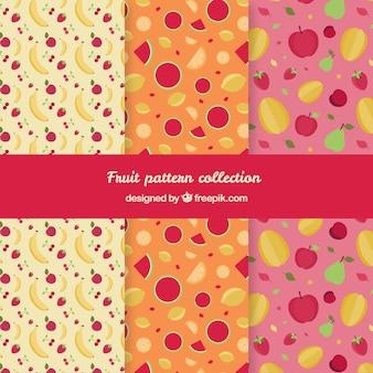 Variedade de padrões planos com frutas