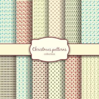 Variedade de padrões tradicionais de natal com etiqueta