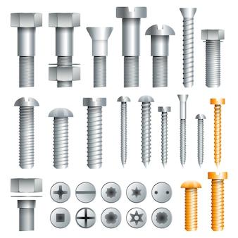 Variedade de parafusos de metal em conjunto