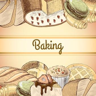 Variedade de pastelaria de massa de pão de massa e ilustração de bolos