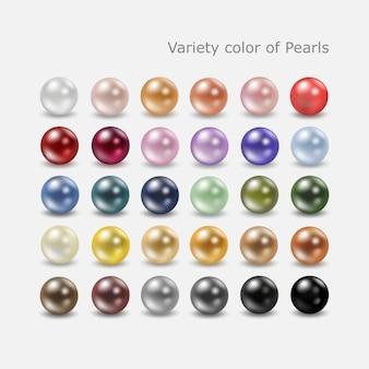 Variedade de pérolas coloridas