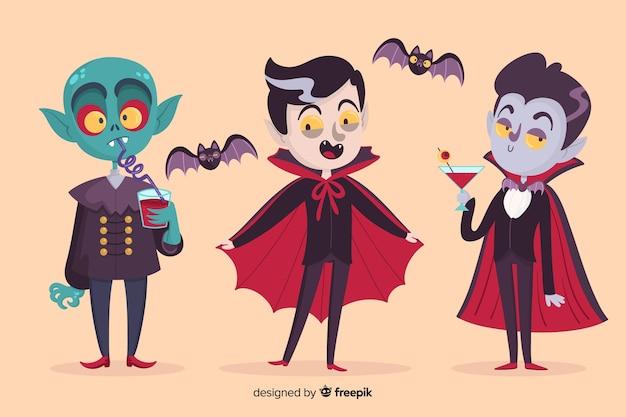 Variedade de personagens de vampiro drácula