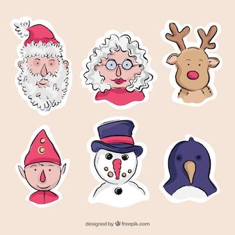 Variedade de personagens desenhados à mão natal