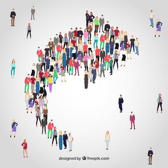 Variedade de pessoas formando uma flecha