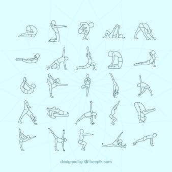 Variedade de posturas de yoga