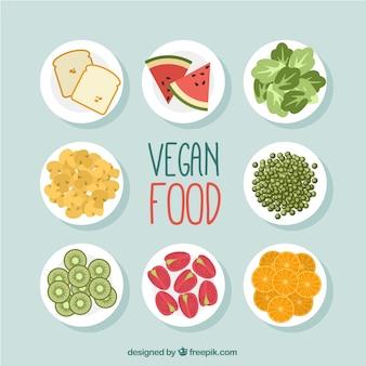 Variedade de pratos de comida vegan