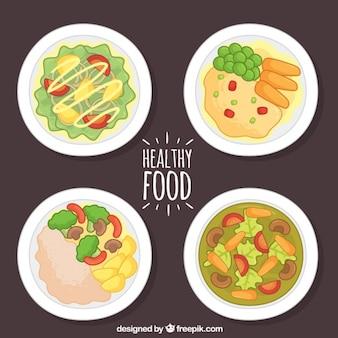 Variedade de pratos saudáveis desenhados à mão