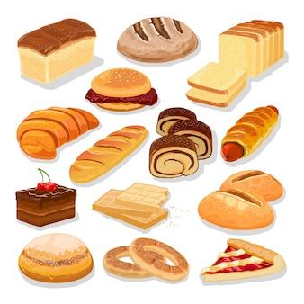 Variedade de produtos de pão e farinha, pastelaria, produtos de padaria.