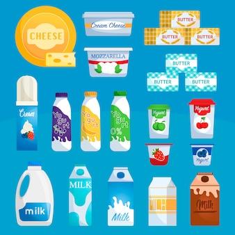 Variedade de produtos lácteos de supermercado.