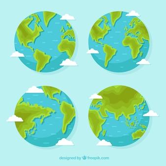 Variedade de quatro globos de terra plana