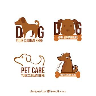 Variedade de quatro logotipos cão em tons marrons