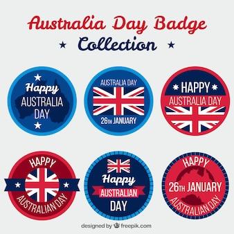 Variedade de redondos emblemas do dia de austrália