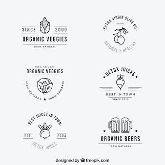 Variedade de rótulos de alimentos orgânicos em design plano