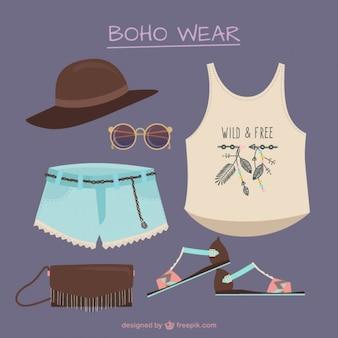 Variedade de roupas e elementos de estilo boho