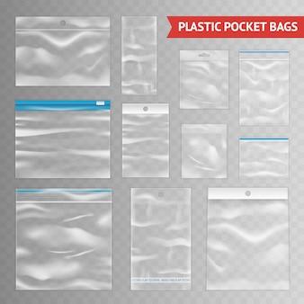 Variedade de sacos realista transparente de plástico transparente