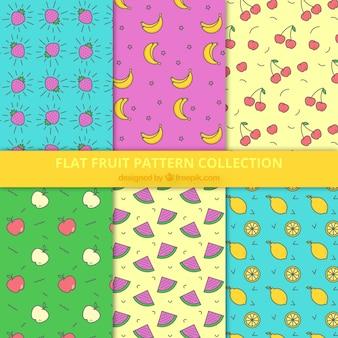 Variedade de seis padrões de frutas em design plano
