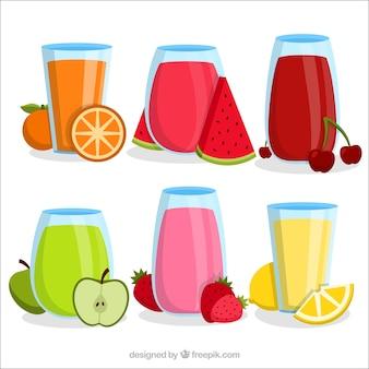 Variedade de seis sucos de frutas em design plano