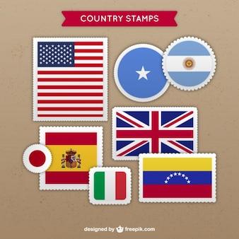 Variedade de selos do país