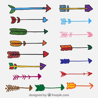 Variedade de setas coloridas