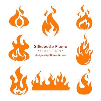 Variedade de silhuetas de chama