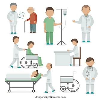 Variedade de situações médicas em estilo plano