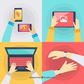Variedade de situações tecnológicas com gadgets
