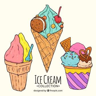 Variedade de sorvetes de verão em estilo desenhado a mão