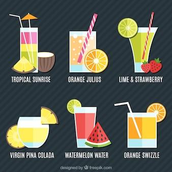 Variedade de sucos de frutas de verão em design plano