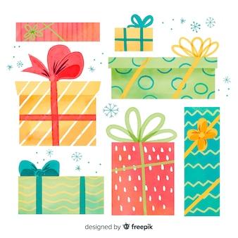 Variedade de tamanhos e formas de caixas de presente de natal