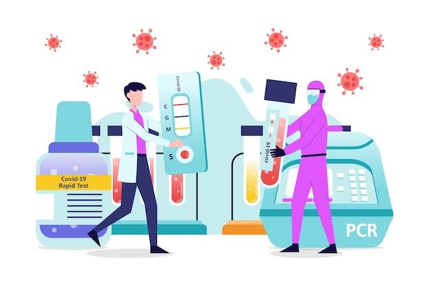 Variedade de testes positivos e negativos para coronavírus