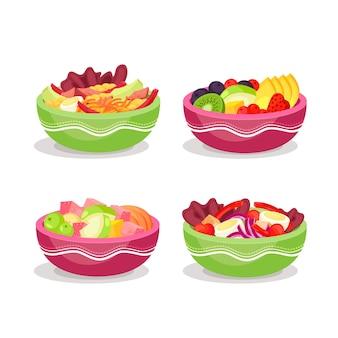 Variedade de tigelas de frutas e saladas