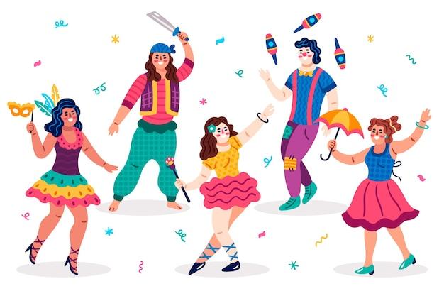 Variedade de tipos de roupas dançarinos de carnaval