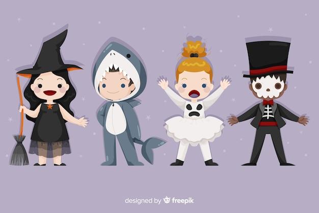 Variedade de trajes conhecidos de halloween para crianças
