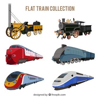 Variedade de trens planos com desenhos fantásticos