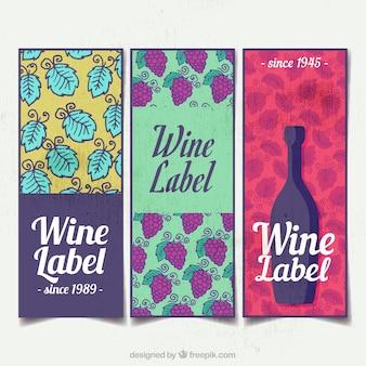 Variedade de três etiquetas do vinho da aguarela