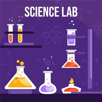 Variedade de tubos de laboratório de ciências